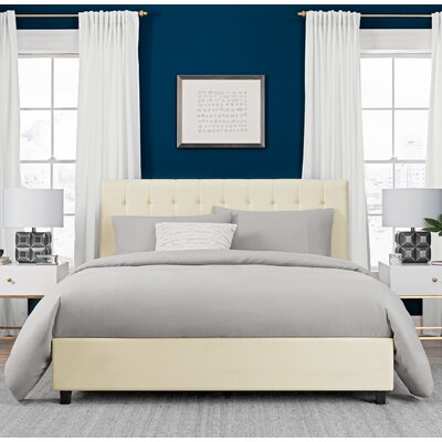 Littrell Upholstered Platform Bed Size: Queen, Headboard Color: Vanilla