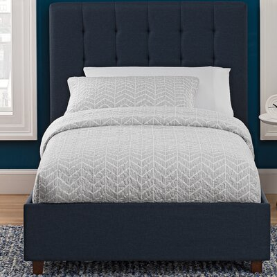 Littrell Upholstered Platform Bed Size: Twin, Headboard Color: Gray
