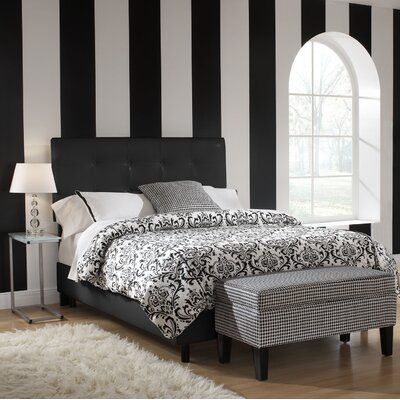 Devon Upholstered Panel Bed Size: California King, Upholstery: Polyester - Classico Black