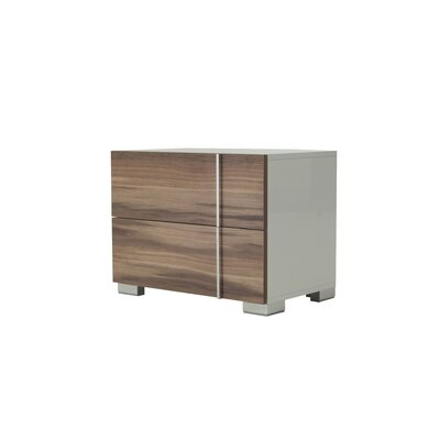 Vance 2 Drawer Nightstand Finish: White / Grey, Orientation: Right Facing