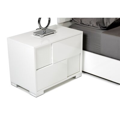 Camron Contemporary 2 Drawer Wood Top Nightstand Color: Beige, Orientation: Right Facing