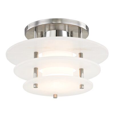 Isabela 1-Light Semi Flush Mount Finish: Polished Nickel, Size: 7.5 H x 11.75 W x 11.75 D