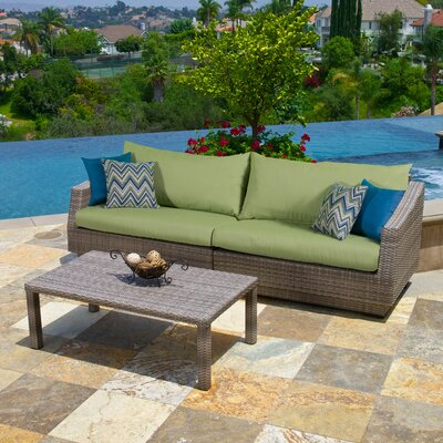 Alfonso 2 Piece Deep Seating Group with Cushion Fabric: Gingko Green