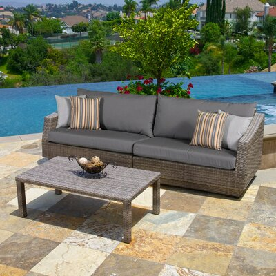 Alfonso 2 Piece Deep Seating Group with Cushion Fabric: Charcoal Grey