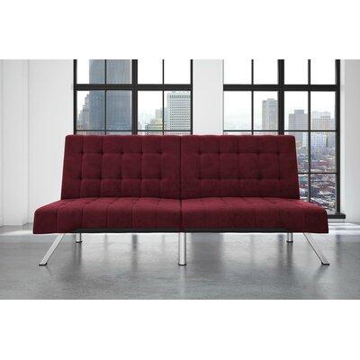Littrell Velvet Convertible Sofa Upholstery: Burgundy
