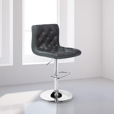 Mckayla Adjustable Height Swivel Bar Stool Upholstery: Black Leather