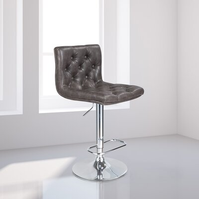 Mckayla Adjustable Height Swivel Bar Stool Upholstery: Grey Leather