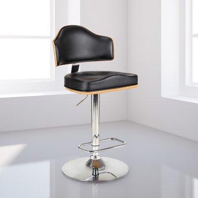 Ariah Adjustable Height Swivel Bar Stool Upholstery: Black