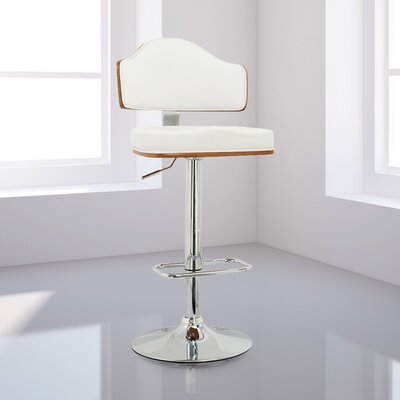 Ariah Adjustable Height Swivel Bar Stool Upholstery: White