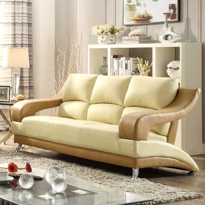 Terence Sofa Upholstery: Beige Seat/Brown Arms