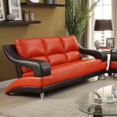 Terence Sofa Upholstery: Red Black