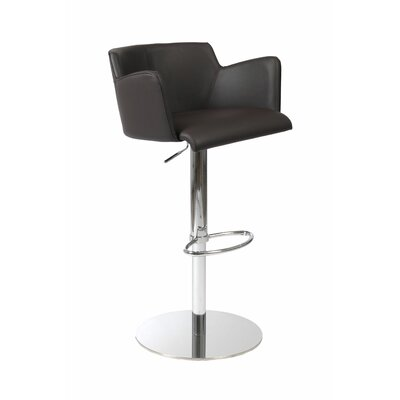 Maliah Adjustable Height Swivel Bar Stool Upholstery: Brown