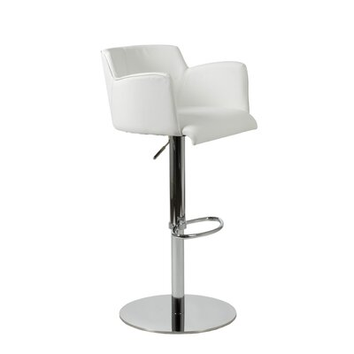 Maliah Adjustable Height Swivel Bar Stool Upholstery: White