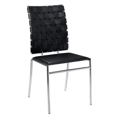 Amundsen Genuine Leather Upholstered Dining Chair Upholstery: Black