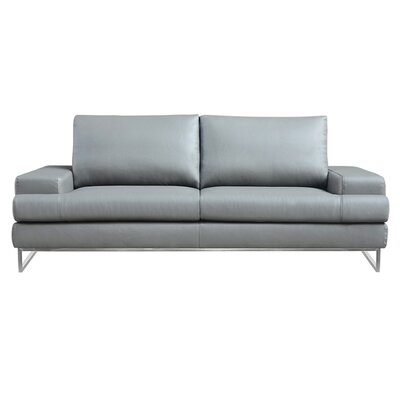 Angeline Leather Sofa Upholstery: Gray