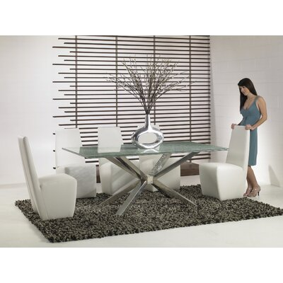 Lesly 42 inch Crackle Glass Dining Table