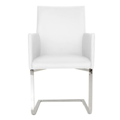 Ivory Genuine Leather Upholstered Dining Chair