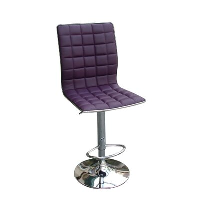 Lonegan Adjustable Height Swivel Bar Stool Upholstery: Purple