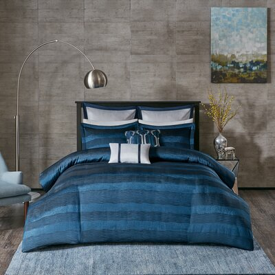 Tamia 7 Piece Duvet Cover Set Size: King/California King, Color: Navy