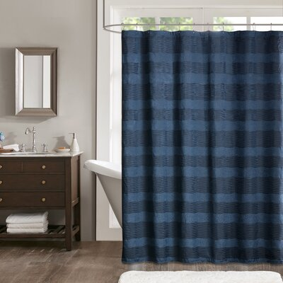 Tamia Shower Curtain Color: Navy