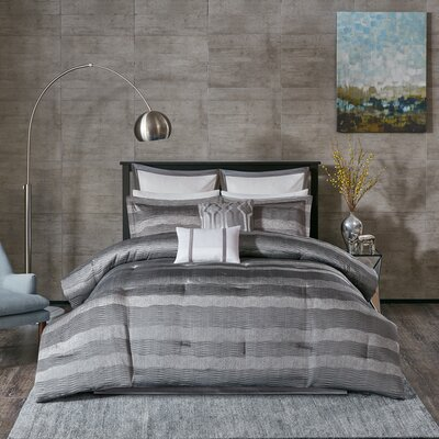 Tamia 8 Piece Comforter Set Size: California King, Color: Gray