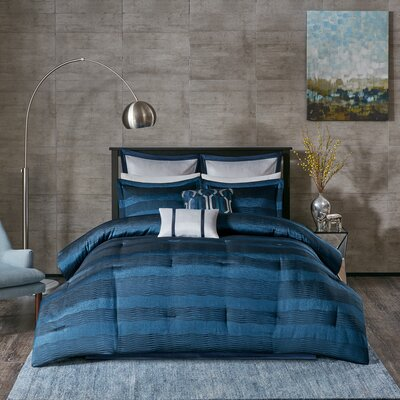 Tamia 8 Piece Comforter Set Size: California King, Color: Navy