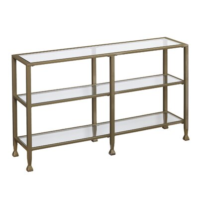 Casas Metal/Glass 3-Tier Console Table/Media Stand - Silver Color: Khaki