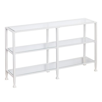 Kailani Metal/Glass 3-Tier Console Table/Media Stand - Silver Color: White