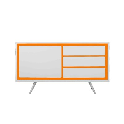 Witte Buffet Table Finish: White/Orange