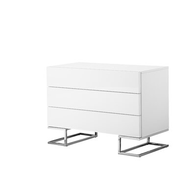 Domingo 3 Drawer Dresser Color: White