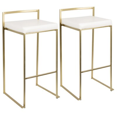 Gary 30 inch Bar Stool Upholstery: White, Finish: Gold