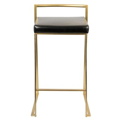 Gary 27 Bar Stool Color: Black, Finish: Gold