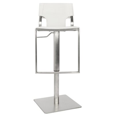 Rockey Adjustable Height Bar Stool Upholstery: White