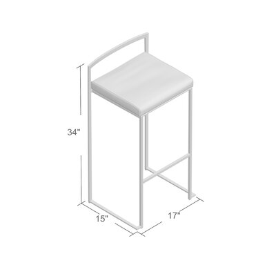 Gary 30 Bar Stool Upholstery: White, Finish: Stainless Steel
