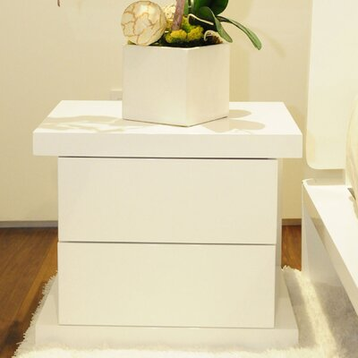 Oden 2 Drawer Nightstand Color: Alabaster