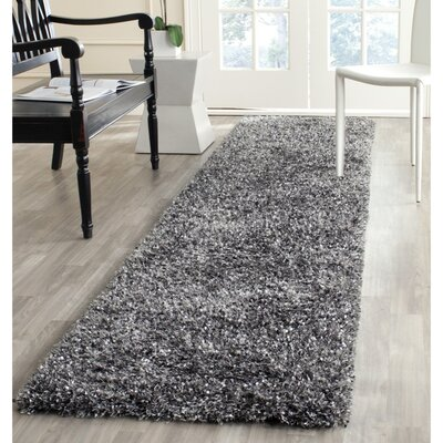 Anna Hand-Tufted/Hand-Hooked Charcoal Area Rug Rug Size: Runner 23 x 7