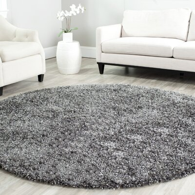 Anna Charcoal Area Rug Rug Size: Round 7