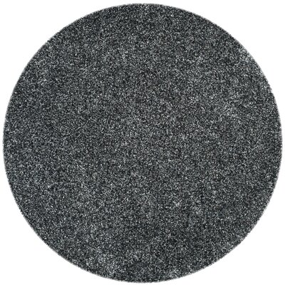 Anna Hand-Tufted/Hand-Hooked Charcoal Area Rug Rug Size: Round 7