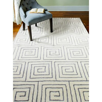 Donnie Hand-Tufted White/Grey Area Rug Rug Size: 86 x 116