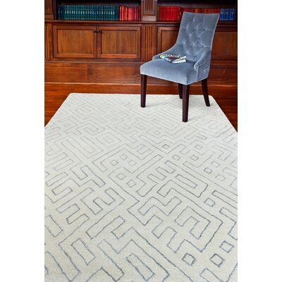Donnie Hand-Loomed White Area Rug Rug Size: 36 x 56