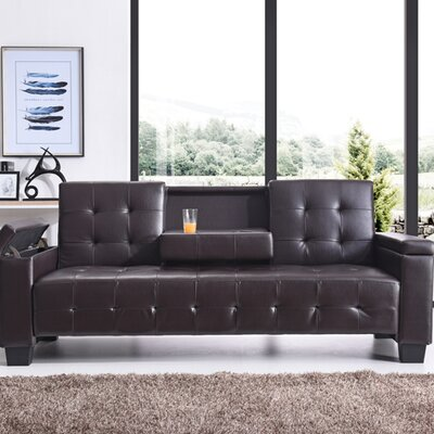 Derek Sleeper Sofa Upholstery: Faux Leather - Cappuccino