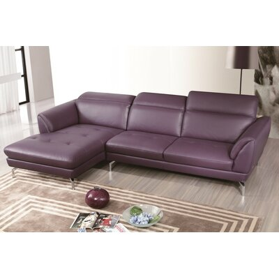 Brinn Reclining Sectional Upholstery: Purple, Orientation: Right Hand Facing