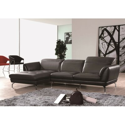 Brinn Reclining Sectional Upholstery: Black, Orientation: Right Hand Facing