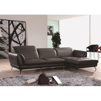 Brinn Sectional Upholstery: Black, Orientation: Right Hand Facing