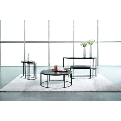 Maureen Upholstered Flip Top Round 5 Piece Coffee Table Set