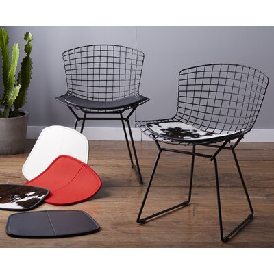 Ellie Dining Chair Cushion Fabric: Black Leather