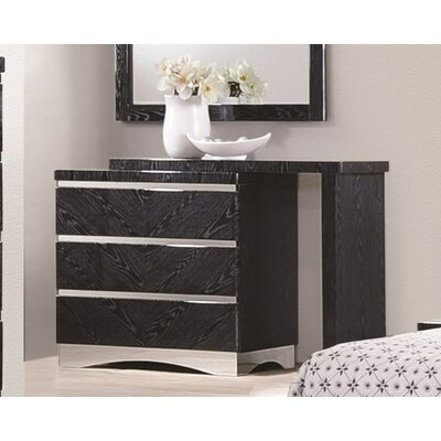 Hinton Blewett 3 Drawer Dresser Finish: Glossy Black