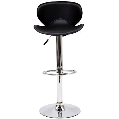 Lottie Adjustable Height Swivel Bar Stool Upholstery: Black