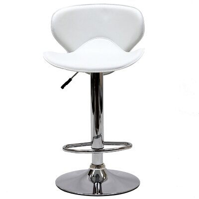 Lottie Adjustable Height Swivel Bar Stool Upholstery: White