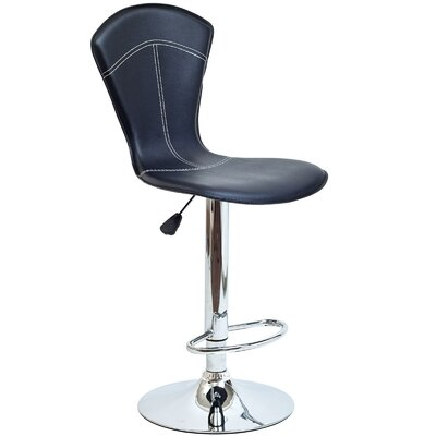 Babb Adjustable Height Swivel Bar Stool Upholstery: Black